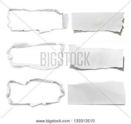 Ripped paper, space for advertising copy on white