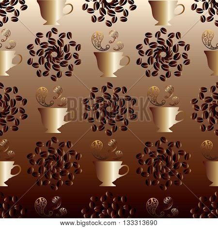 Seamless pattern with Arabic,Turkish,Persian, Moroccan coffee.Gold cup with coffee.Instead of steam over a cup are gold oriental pattern elements..Around a cup are patterns of coffee beans. Background is brown with gradient. Can be scaled to any size.