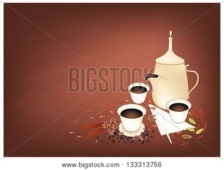Arabian Cuisine Arabic Coffee or Coffee Brewed from Dark Roast Coffee Beans with Spice. One of The Most Favorite Arabic Beverage.