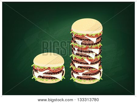 Cuisine and Food Illustration of Delicious Gigantic Cheese Burgery on Dark Green Chalkboard.