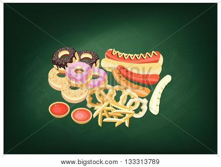 Fast Food Illustration of Hot Dog Donut French Fries and Onion Ring on Green Chalkboard.