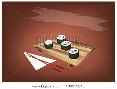 Japanese Cuisine Illustration of Fresh Rice Sushi Rolls or Rice Makimono Rolls Topping with Sesame on Wooden Geta Plate with Chopsticks.