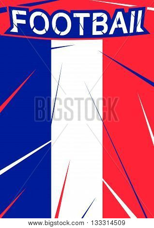 France football championship with text sign and france flag colors. Scratch texture