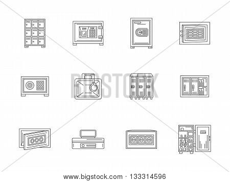 Types of safety and storage elements. Lockers and safe boxes. Protect and security. Set of flat line style vector icons.