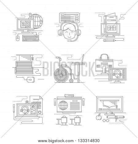 Communication technology for distance education. E-learning, webinars, online library and video tutorials, applications and others. Set of detailed flat line vector icons. Web design elements.