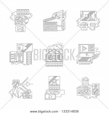 Cinema industry theme. Home movie, film making, entertainment elements, online cinema tickets ordering and others. Set of detailed flat line vector icons. Web design elements.