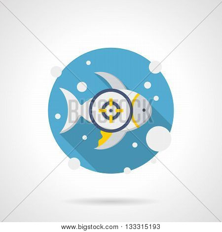 White fish with yellow fins in water with bubbles and crosshair. Summer leisure, diving and snorkeling, underwater hunting. Round flat color style vector icon. Web design element