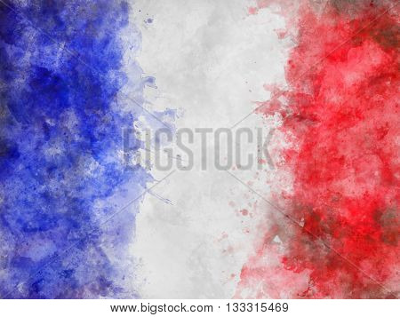 Artistic Rendering of Flag of France - Full Frame Background Abstract of Painted Blue, White and Red