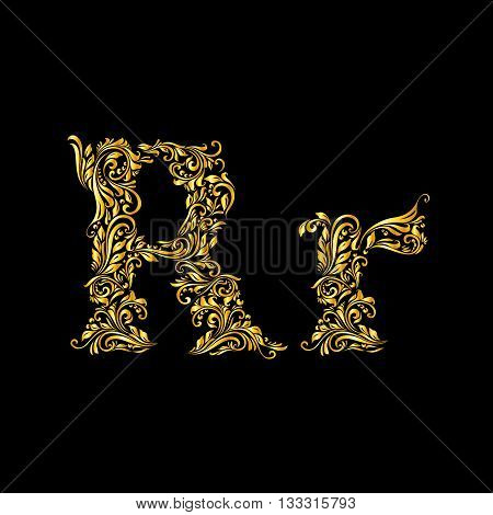 Richly decorated letter 'r' in upper and lower case.