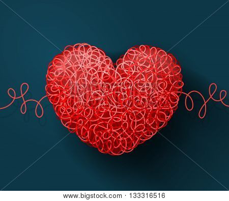 Heart weaved from variety of twisted red threads on blue background