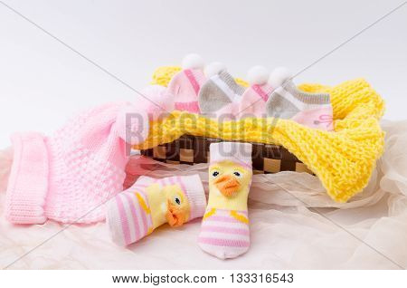 Pink Knit Hat And Socks Gift Set For A Newborn Baby Girl