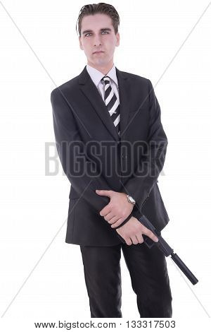 Secret agent or criminal, isolated on white background.