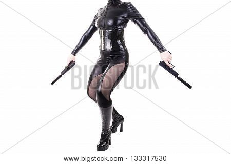 Sexy woman holding guns, isolated on white background.