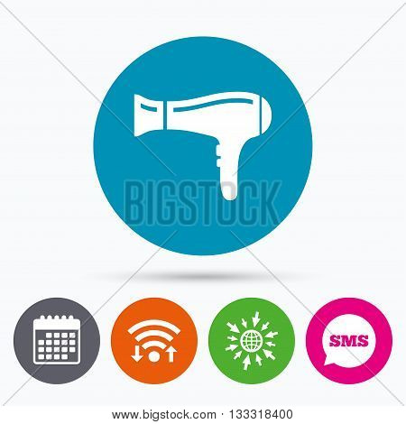 Wifi, Sms and calendar icons. Hairdryer sign icon. Hair drying symbol. Go to web globe.