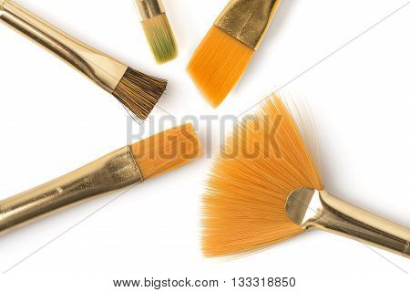 Several paintbrushes angled on a white background.