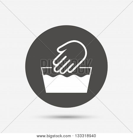 Hand wash sign icon. Not machine washable symbol. Gray circle button with icon. Vector