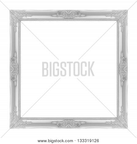 The antique frame on the white background silver color