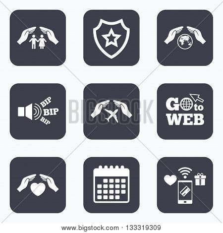Mobile payments, wifi and calendar icons. Hands insurance icons. Human life insurance symbols. Heart health sign. Travel flight symbol. Save world planet. Go to web symbol.