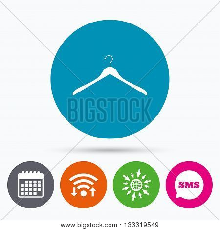Wifi, Sms and calendar icons. Hanger sign icon. Cloakroom symbol. Go to web globe.