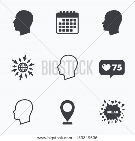 Calendar, like counter and go to web icons. Head icons. Male and female human sign symbols. Location pointer.