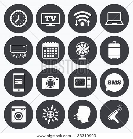 Wifi, calendar and mobile payments. Home appliances, device icons. Electronics signs. Air conditioning, washing machine and microwave oven symbols. Sms speech bubble, go to web symbols.