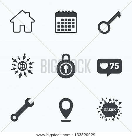 Calendar, like counter and go to web icons. Home key icon. Wrench service tool symbol. Locker sign. Main page web navigation. Location pointer.