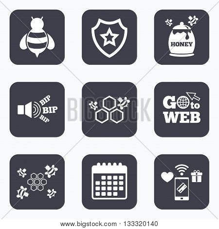 Mobile payments, wifi and calendar icons. Honey icon. Honeycomb cells with bees symbol. Sweet natural food signs. Go to web symbol.
