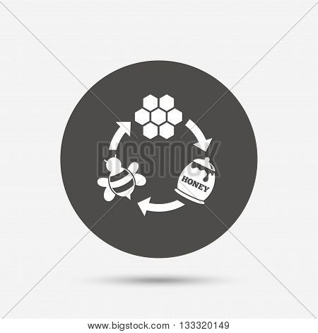 Producing honey and beeswax sign icon. Honeycomb cells symbol. Honey in pot. Sweet natural food cycle in nature. Gray circle button with icon. Vector