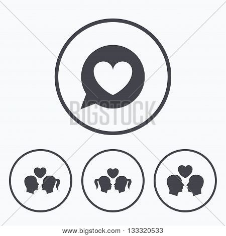 Couple love icon. Lesbian and Gay lovers signs. Romantic homosexual relationships. Speech bubble with heart symbol. Icons in circles.