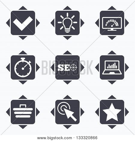 Icons with direction arrows. Internet, seo icons. Bandwidth speed, online shopping and tick signs. Favorite star, notebook chart symbols. Square buttons.
