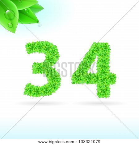 Sans serif font with green leaf decoration on white background. 3 and 4 numerals