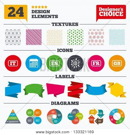 Banner tags, stickers and chart graph. Language icons. IT, ES, FR and GB translation symbols. Italy, Spain, France and England languages. Linear patterns and textures.