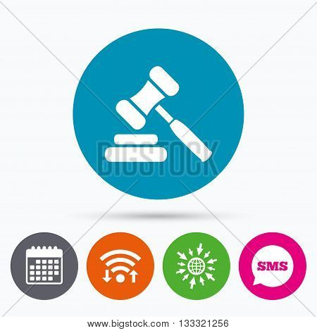 Wifi, Sms and calendar icons. Auction hammer icon. Law judge gavel symbol. Go to web globe.