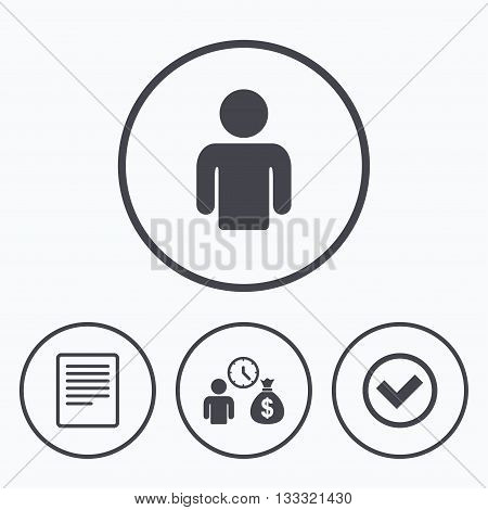 Bank loans icons. Cash money bag symbol. Apply for credit sign. Check or Tick mark. Icons in circles.