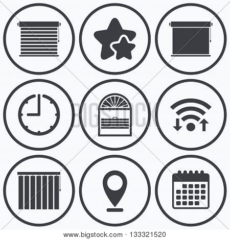 Clock, wifi and stars icons. Louvers icons. Plisse, rolls, vertical and horizontal. Window blinds or jalousie symbols. Calendar symbol.