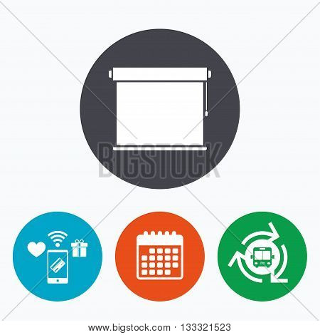 Louvers rolls sign icon. Window blinds or jalousie symbol. Mobile payments, calendar and wifi icons. Bus shuttle.