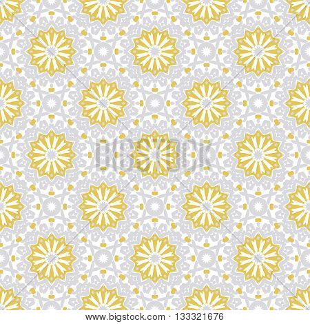 Vector art deco pattern with abstract flowers in 1920s fashion style Chic and elegant vintage print with flourish decor, floral motif and circles for wedding invitation background in silver white gold