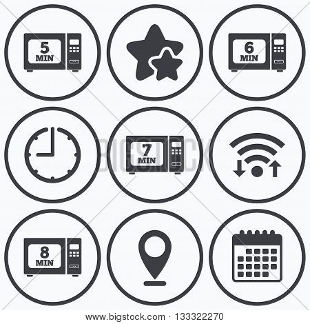 Clock, wifi and stars icons. Microwave oven icons. Cook in electric stove symbols. Heat 5, 6, 7 and 8 minutes signs. Calendar symbol.