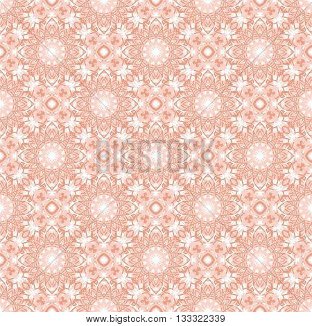 Vector art deco flourish pattern with abstract flowers in 1920s fashion style. Simple and elegant print with chic decor and floral motif and circles for wedding invitation background in coral pink