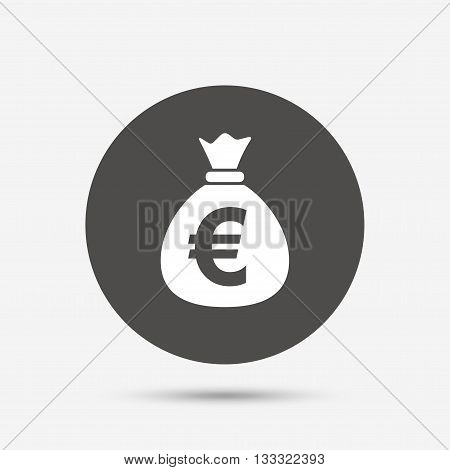 Money bag sign icon. Euro EUR currency symbol. Gray circle button with icon. Vector