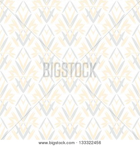 Vector art deco pattern with floral motifs 1920s fashion style. Simple, chic and elegant print with geometric decor from roaring twenties for wedding invitation background in white, beige, blue