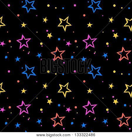 Vector seamless pattern with bright colorful stars and dots on black background. Fun ditsy print with night sky, constellations and twinkle lights. Concept of astrology and birthday and holiday spirit