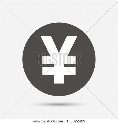 Yen sign icon. JPY currency symbol. Money label. Gray circle button with icon. Vector