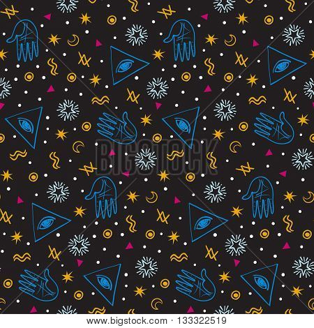 Vector seamless pattern with colorful alchemy and mystic signs eye, triangles, palms, moons, stars, astrology symbols hand drawn in lines. Bright modern ditsy print with geometric shapes in dark color