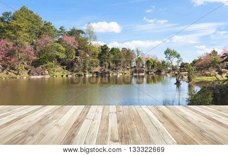 Wood Table And River And Stone With Tree In Forest Beautiful Nature Of Asian.