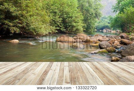 Wood Table And River And Stone With Tree In Forest Beautiful Nature Of Asian