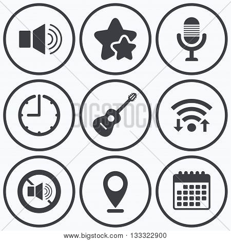 Clock, wifi and stars icons. Musical elements icons. Microphone and Sound speaker symbols. No Sound and acoustic guitar signs. Calendar symbol.