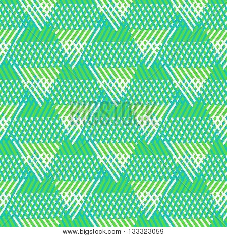Vector seamless geometric pattern with striped triangles, abstract dynamic shapes in bright colors. Hand drawn background with overlapping lines in 1970s fashion style. Modern textile print in green