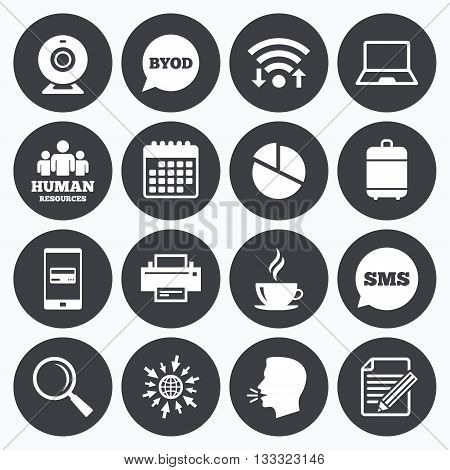 Wifi, calendar and mobile payments. Office, documents and business icons. Pie chart, byod and printer signs. Report, magnifier and web camera symbols. Sms speech bubble, go to web symbols.