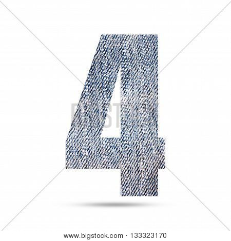 Number 4 (four) with blue jeans texture background.
